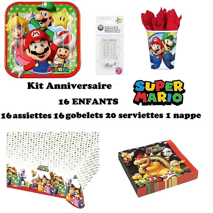 uni que Set de Cumpleaños Completa Super Mario 16 niños (16 Platos,16 Tazas, 20 servilletas,1 Mantel + 10 Velas mágicas ofrecidas) Fiesta Mesa de ...