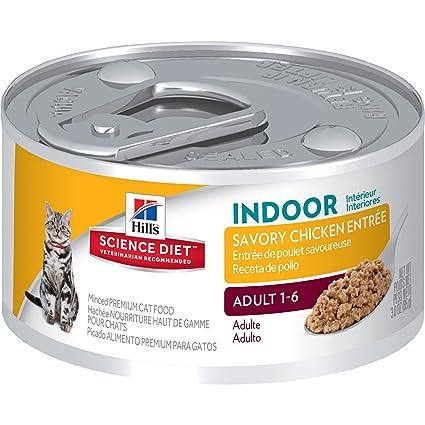 HillS Science Diet Adult Indoor Cat Savory Chicken Entree Minced Cat Food, 3 Oz,