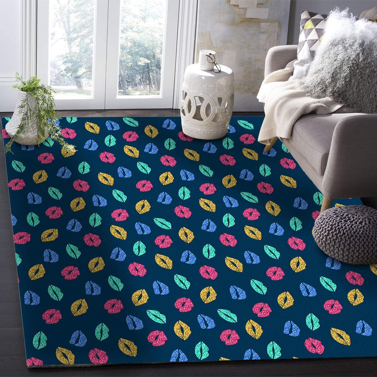 OUR WINGS Area Rug, Modern Contemporary Indoor/Outdoor Affordable Rugs for Living Room Bedroom Study Children Playroom Super Soft Carpet Floor Mat,Rectangular - Sexy Lip Print 4 Feet by 6 Feet