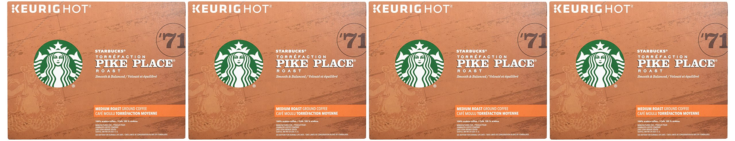 Starbucks Pike Place Roast Medium Roast Single Cup Coffee for Keurig Brewers, 4 boxes of 24 (96 total K-Cup pods) by Starbucks (Image #2)