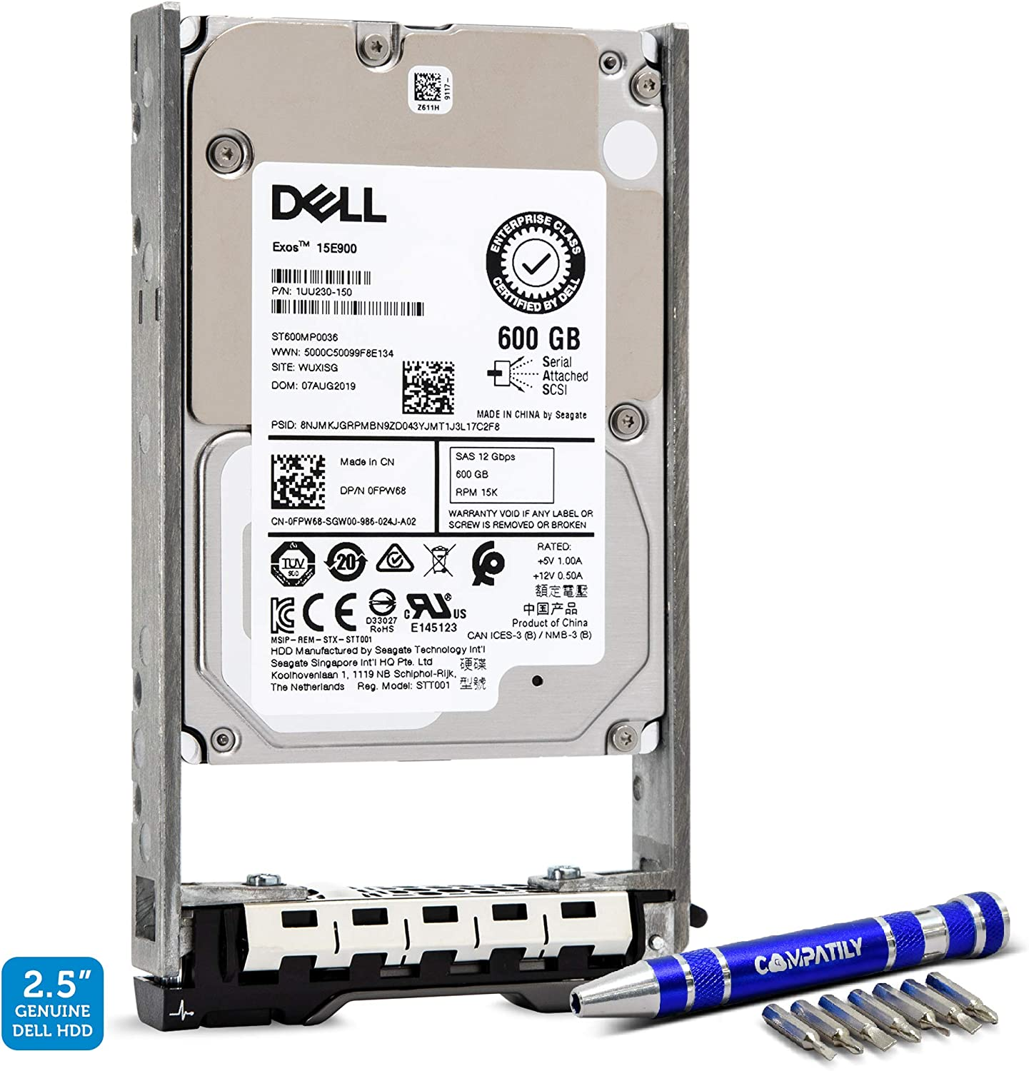 Dell 400-AJRF 600GB 15K SAS 12G 2.5-Inch PowerEdge Enterprise Hard Drive in 13G Tray Bundle with Compatily Screwdriver Compatible with ST600MP0036 R920 R930 T710 R720 R420 MD1220 MD3420