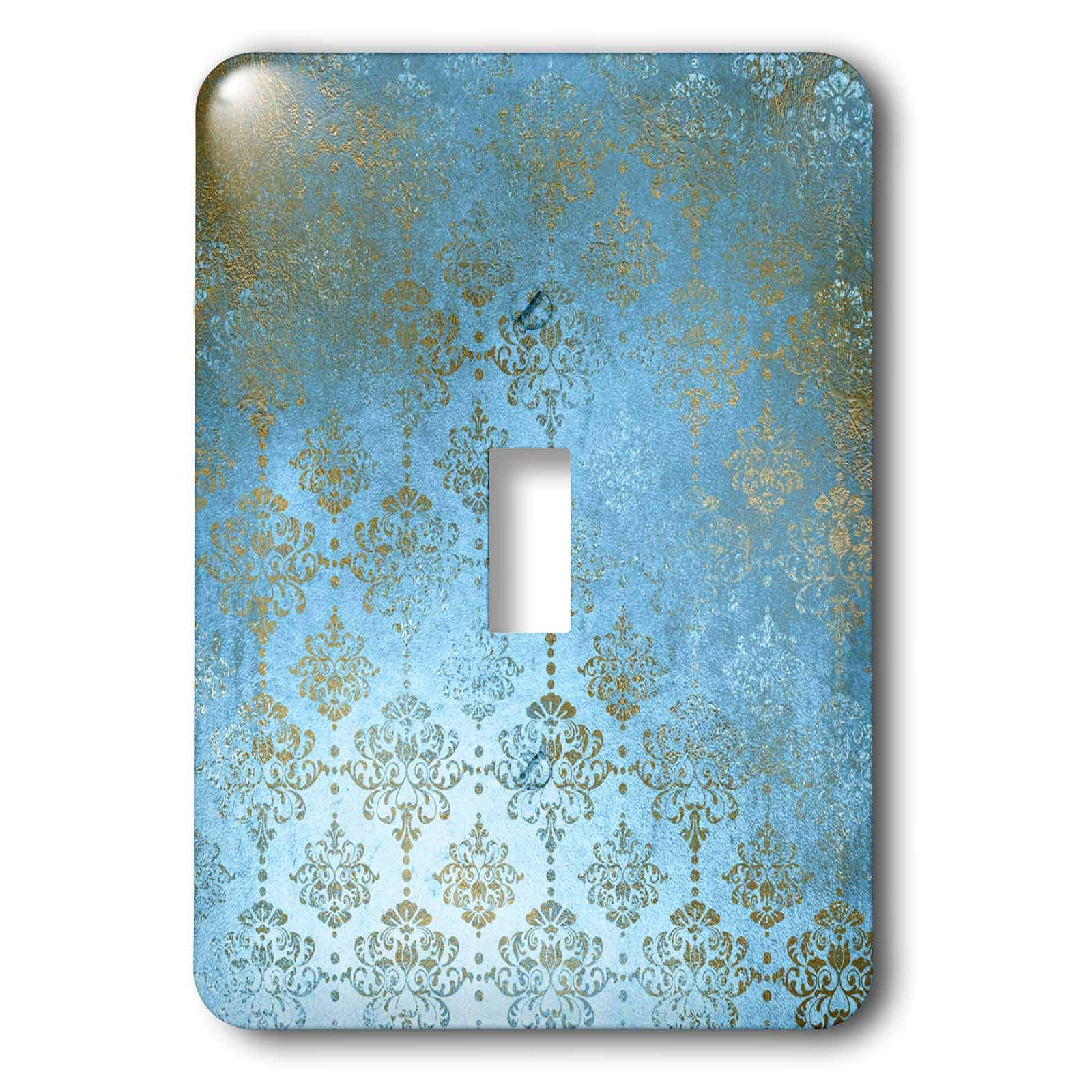 3dRose Uta Naumann Faux Glitter Pattern - Image of Sky Blue and Gold Metal Foil Vintage Grunge Luxury Damask Pattern - Light Switch Covers - single toggle switch (lsp_290169_1)