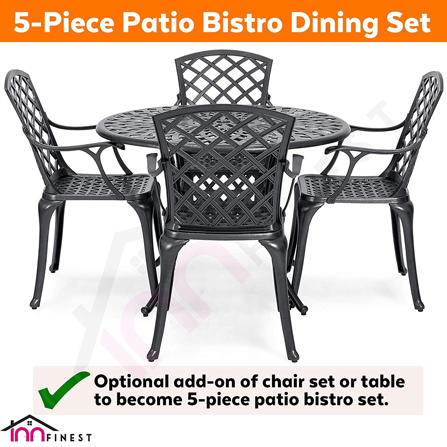 Black for Outdoor Furniture Patio Deck Garden Optional Add-on 6 Chairs for 7 Piece Set Rust Resistant Lattice Weave Design 72/″ Patio Bistro Dining Table Cast Aluminum Umbrella Hole Table