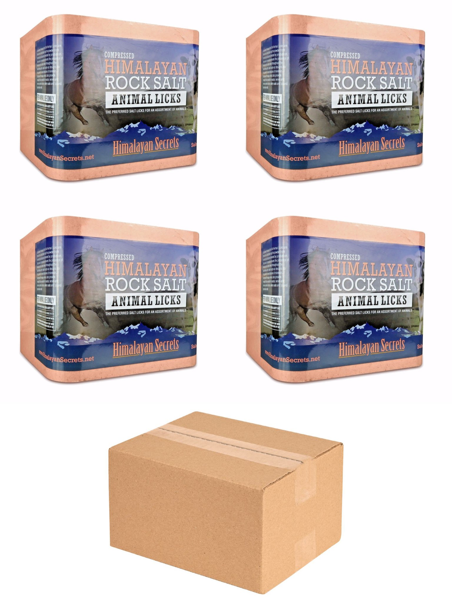 Compressed Himalayan Salt Lick For Horse, Cow, Goat, etc. Made From Specially Selected Higher Quality Himalayan Salt - Evenly Distributed Minerals - 100% Pure & Natural (3 Sizes) (Set of 4 (11 LB))