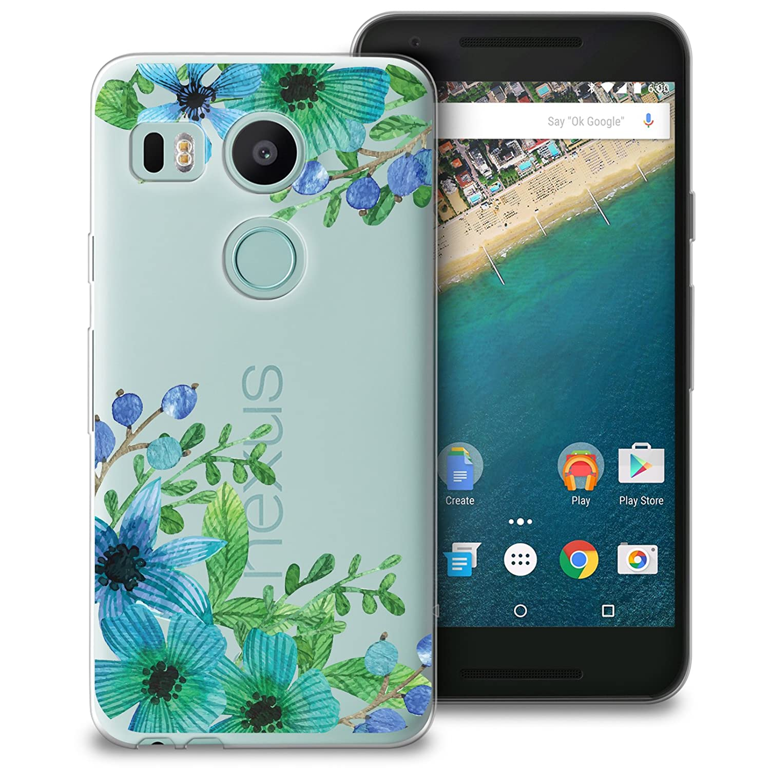 CasesByLorraine Nexus 5X Case, Lilac Floral Blue Green Flowers Clear Transparent Case Flexible TPU Soft Gel Protective Cover for LG Google Nexus 5X ...