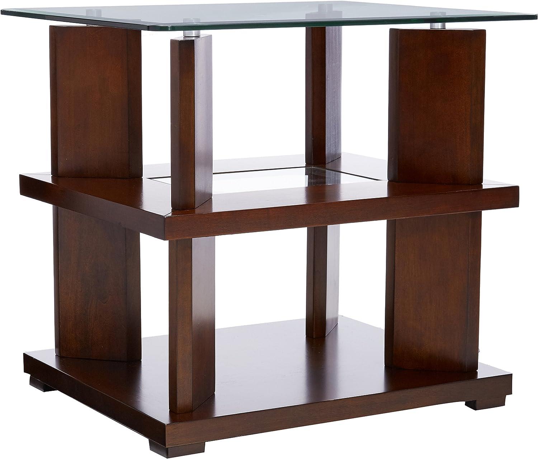 Progressive Furniture Delfino End Table, Burnished Cherry