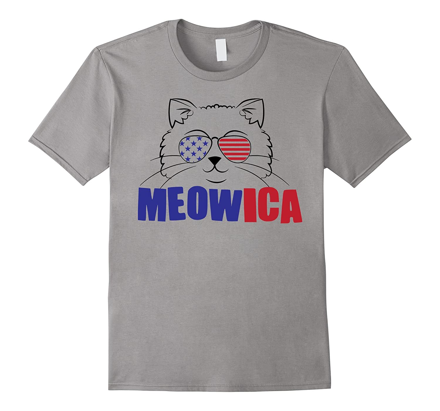 Meowica Funny Cat Lover Freedom July 4th Flag Glasses TShirt-PL