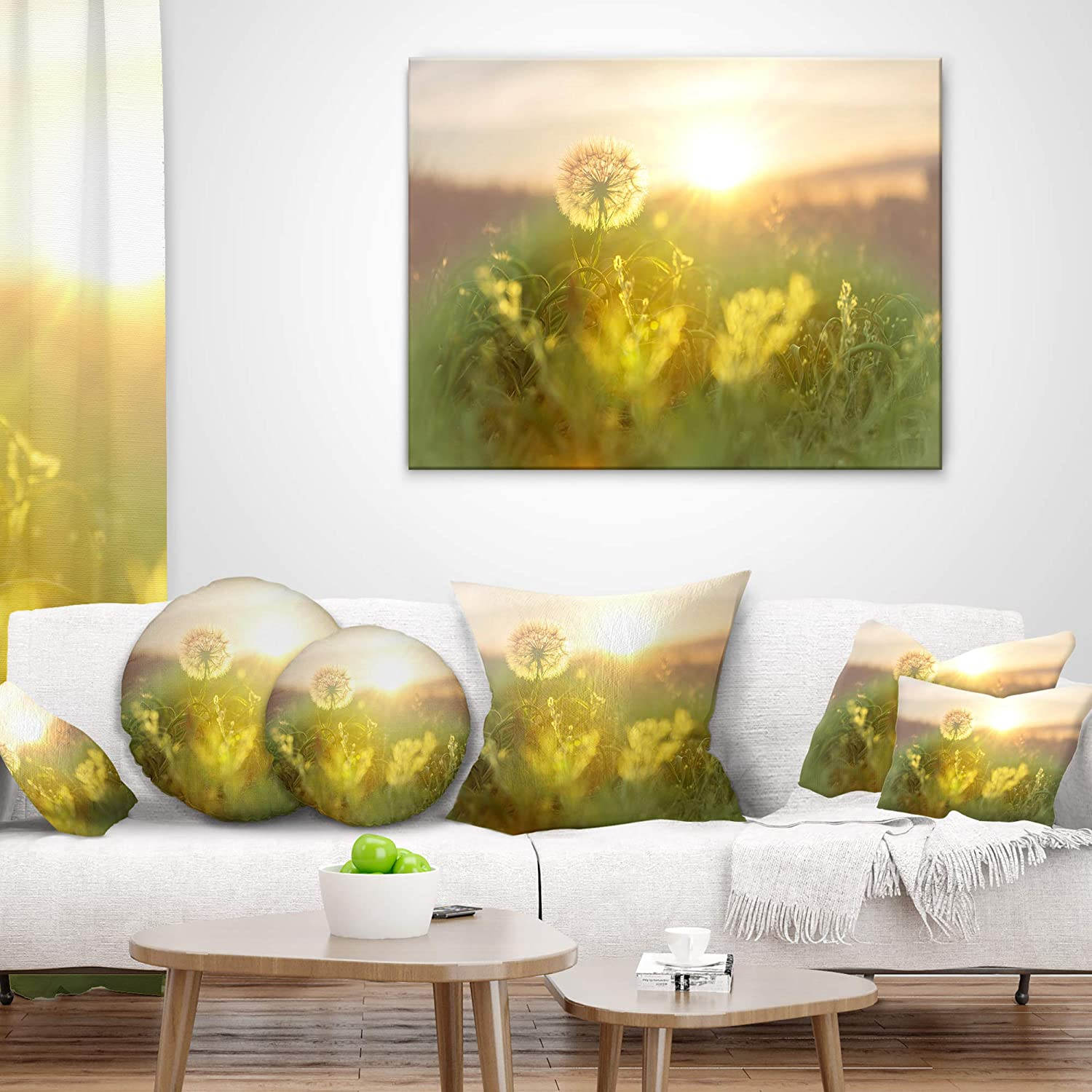 x 26 in in Designart CU12463-26-26 Dandelion Blooming Flower in Field Floral Cushion Cover for Living Room Sofa Throw Pillow 26 in