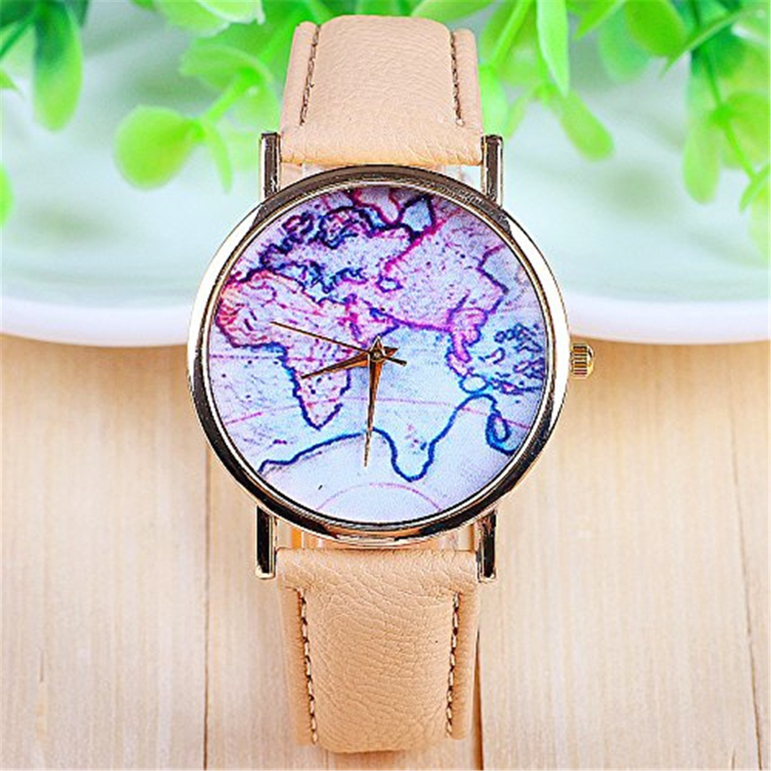 Amazon.com: 3 Colors New Arrival World Map Leather Strap Watches (Beige): Watches