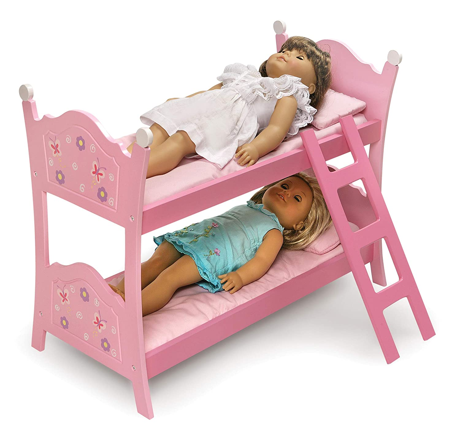 Badger Basket Blossoms and Butterflies Doll Bunk Beds with Ladder fits American Girl dolls 01854
