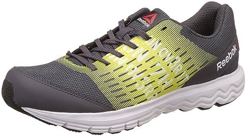 b0bc71f879819 Reebok Men s Ash Grey Solar Green Running Shoes - 10 UK India (44.5