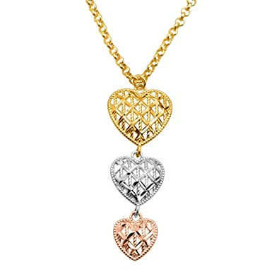 Amazon just gold graduated triple heart pendant necklace in 14k just gold graduated triple heart pendant necklace in 14k three tone gold aloadofball Images