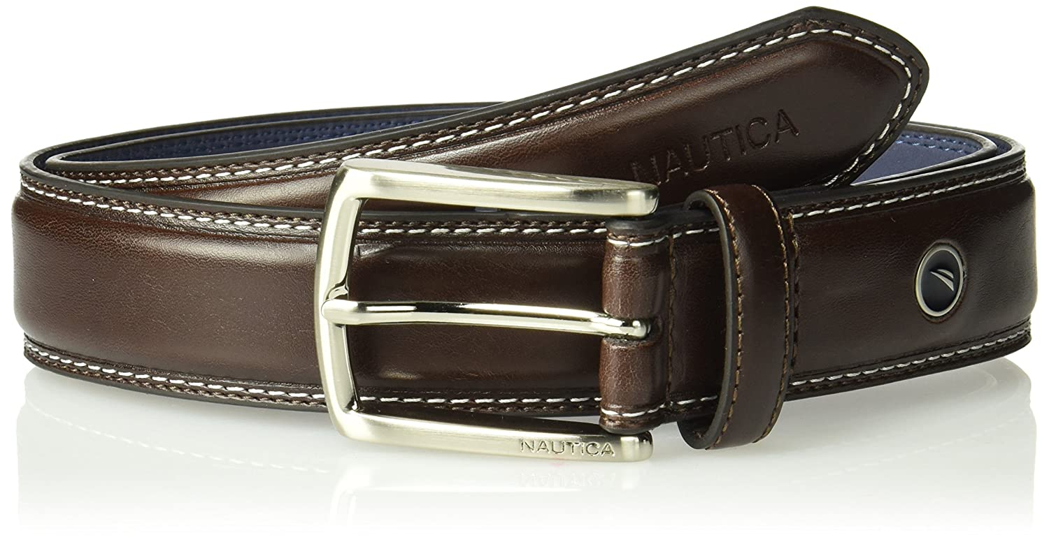 Nautica Men's Feathered Edge with Double-Stitch Casual Leather Belt 11NU02X030