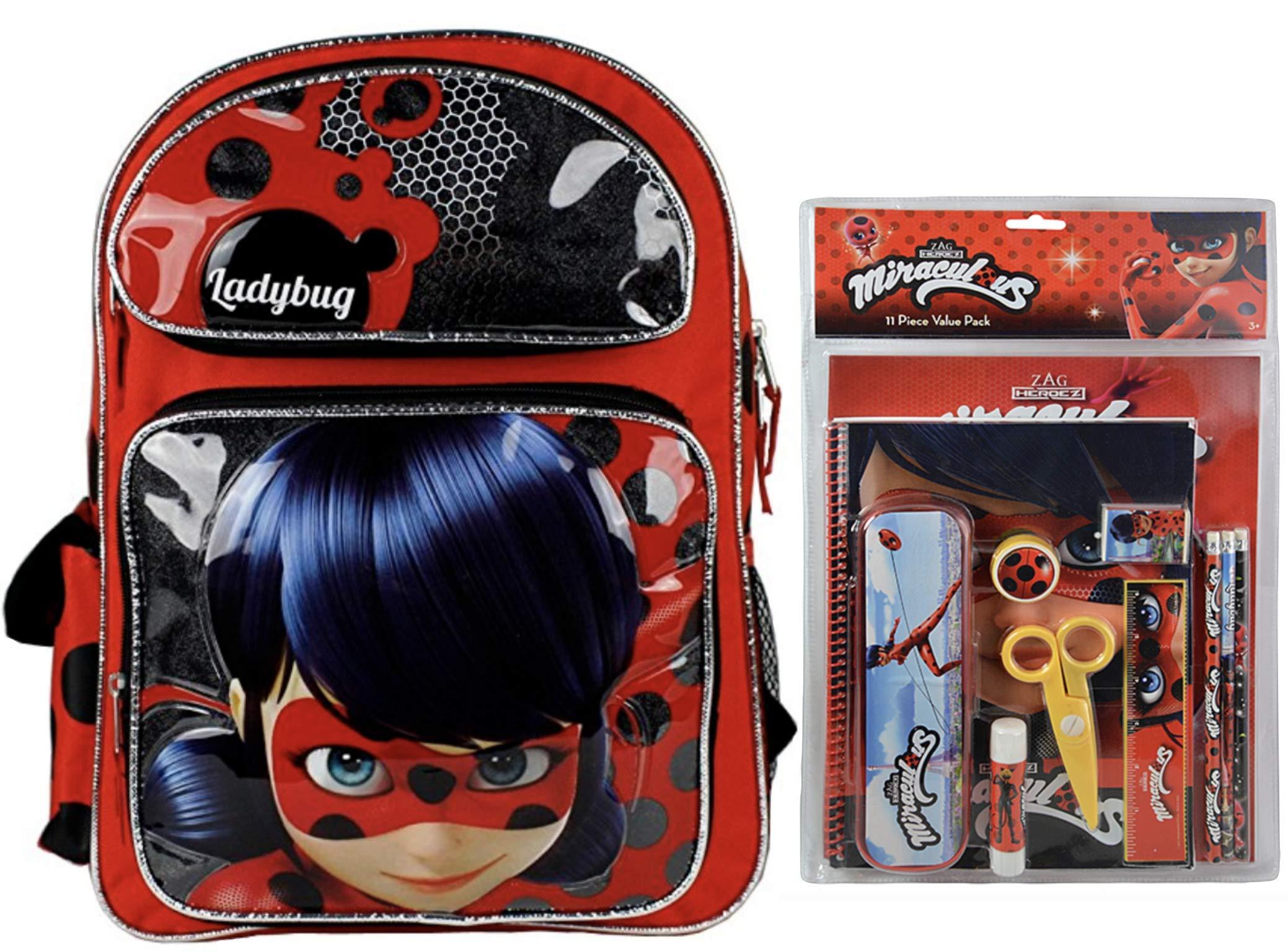 Miraculous Ladybug 16'' Deluxe Backpack + 11 Piece Stationery Set