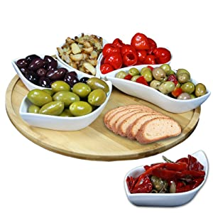Elama Signature 7 Piece Modern Lazy Susan Appetizer and Condiment Server Set with 6 Unique Design Serving Dishes and a Bamboo Lazy Suzan Serving Tray, 13.5