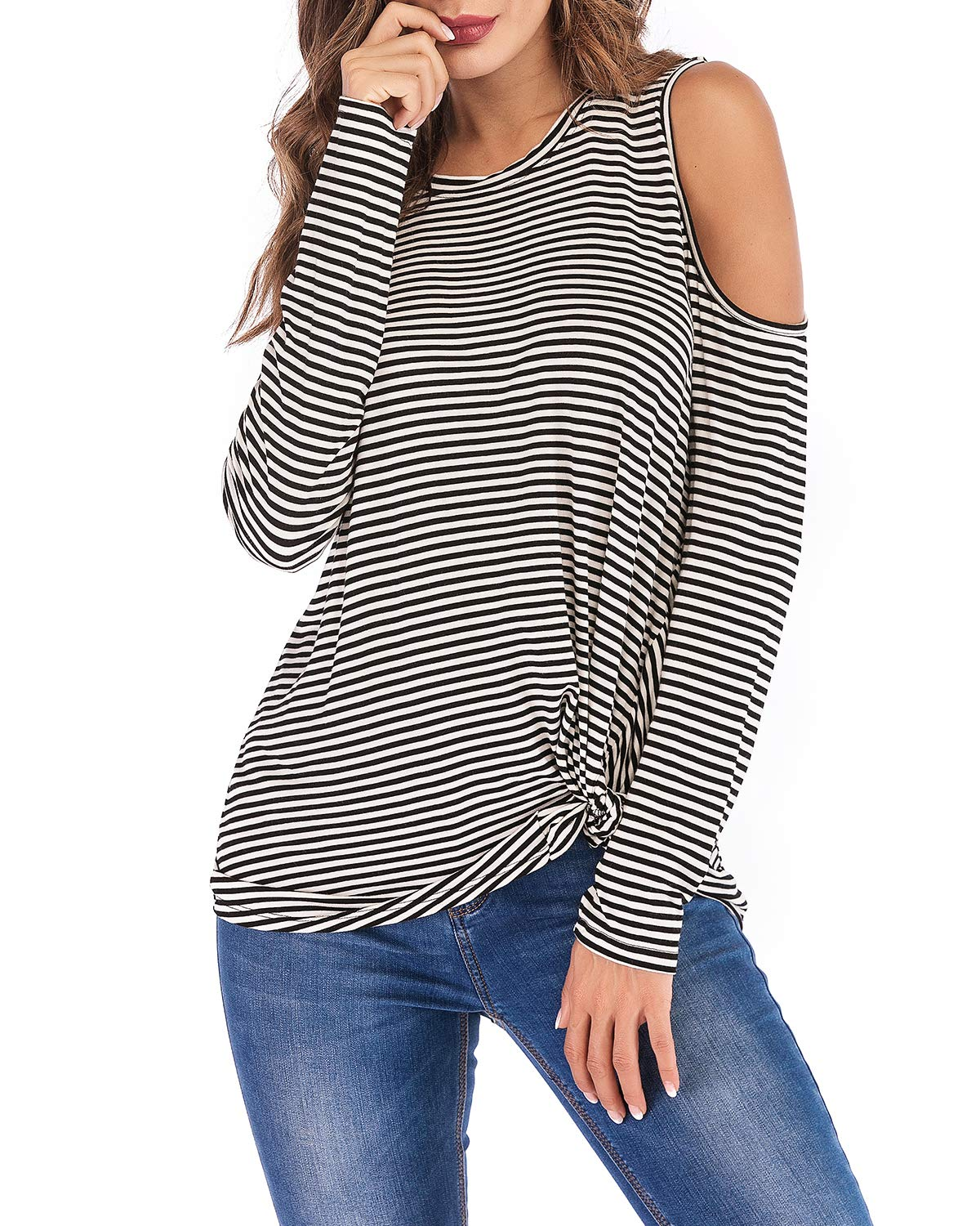 Eanklosco Cold Shoulder Shirt Women Long Sleeve Cut Out Tunic Tops Casual Knot Twist Blouse (Black White Stripe, L)