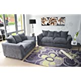 Crown Living Byron Grey Sofa Suite 3+2 Jumbo Cord Excellent Value Free Delivery To England and Wales