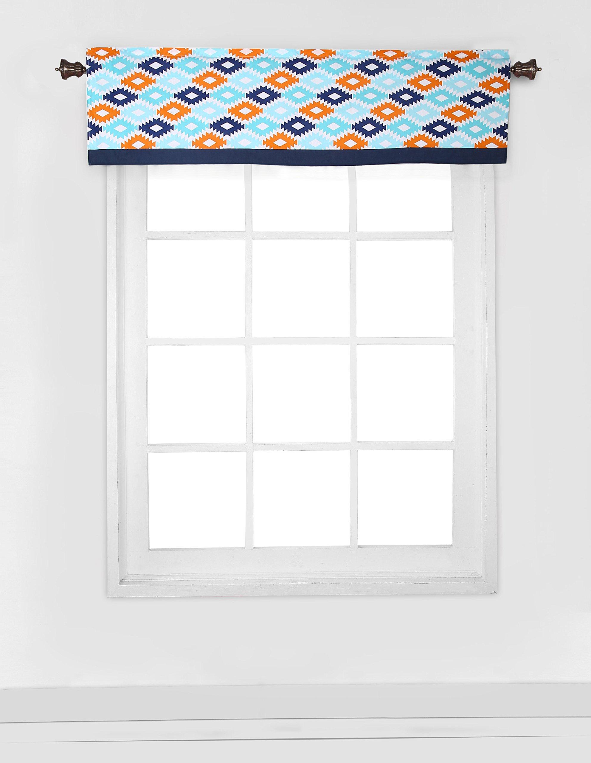 Bacati Liam Aztec Window Valance, Aqua/Orange/Navy, 54 x 15'' by Bacati