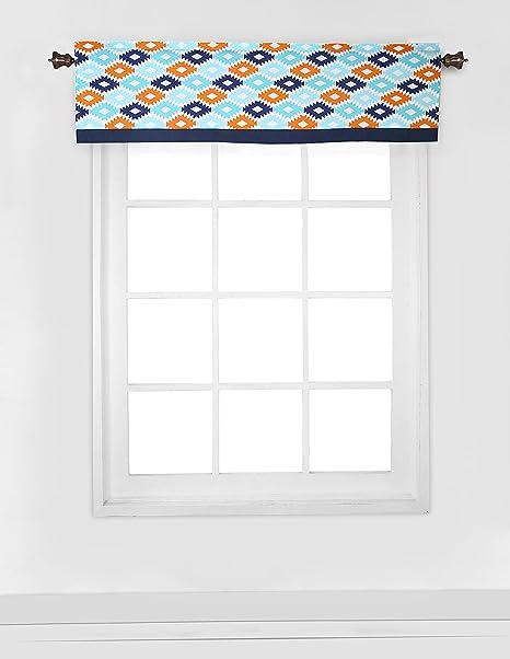 Bacati Liam Aztec Window Valance, Aqua/Orange/Navy, 54 x 15