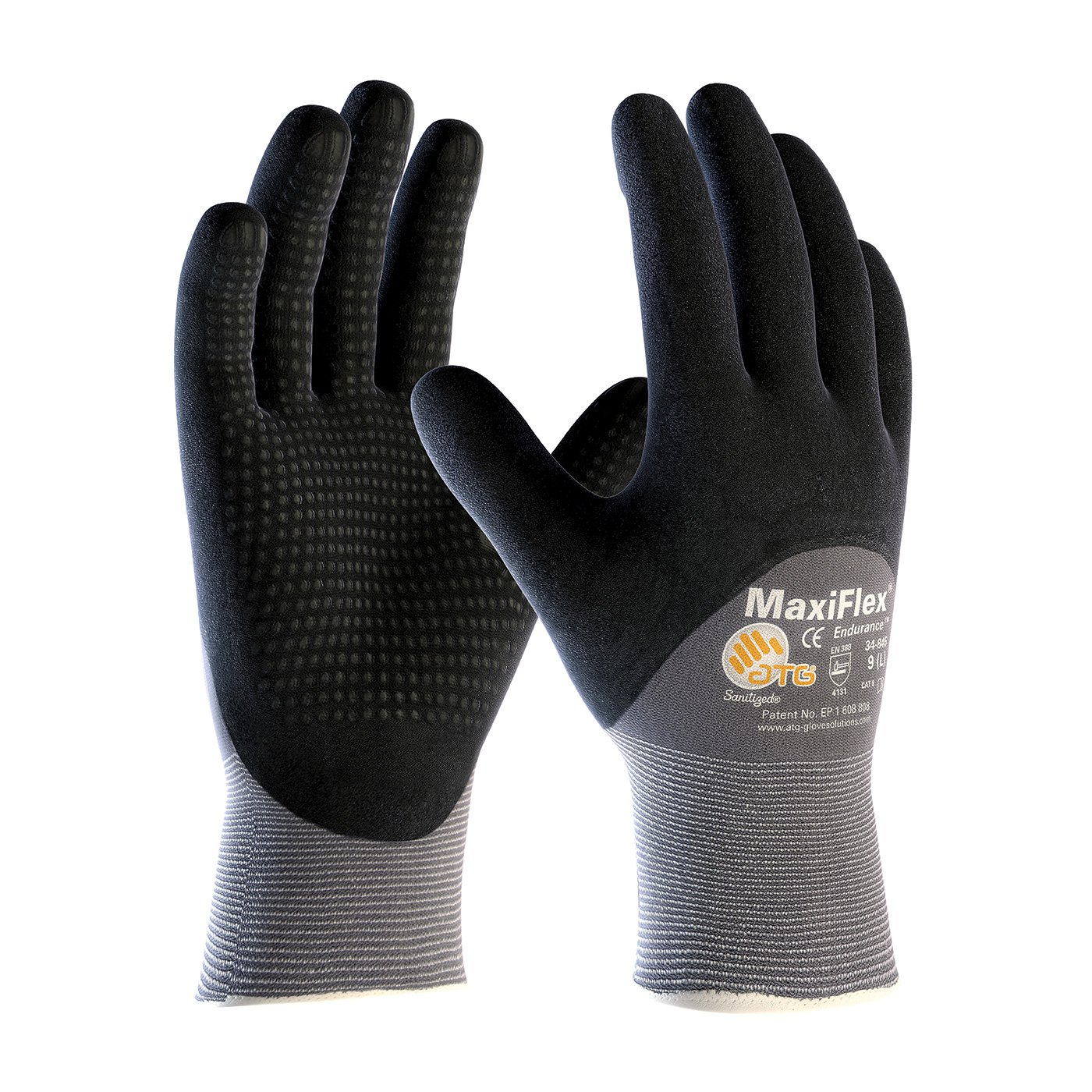 ATG 34-845/L MaxiFlex Endurance - Nylon, Micro-Foam Nitrile 3/4 Grip Gloves - Black/Gray - Large - 36 Pair Per Pack