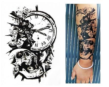 Tatuajes temporales Tempo rary Tattoo Fake Tattoo – Calavera de reloj