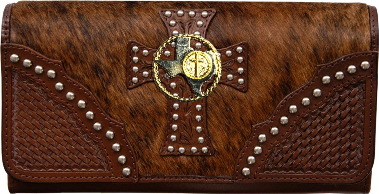Custom Texas Rope and Cross Natural Hair Christian Clutch Wallet with removable checkbook