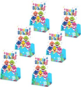 Yamatch 24 Pack Baby Little Shark Party Bags-Shark Baby Treat Bags Gifts Bags- Baby Cute Shark Themed Birthday Party Supplies Decorations- Perfect for kids little Shark Treatment(shark balloons, hanging swirls, cake toppers)