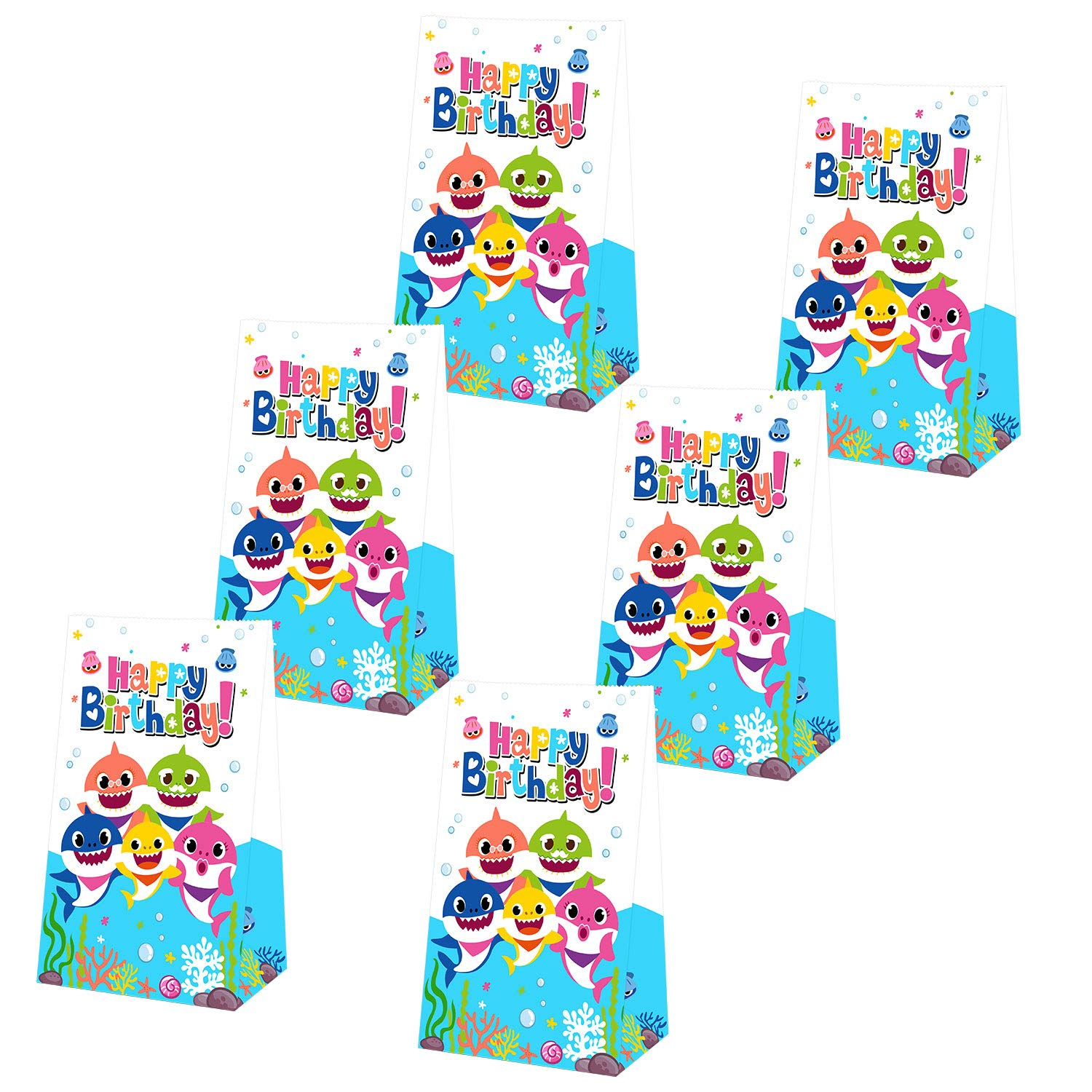 Yamatch 24 Pack Baby Little Shark Party Bags-Shark Baby Treat Bags Gifts Bags- Baby Cute Shark Themed Birthday Party Supplies Decorations- Perfect for ...