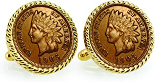product image for Indian Head Penny Rope Bezel Coin Cuff Links | United States Coins | Men's Cufflinks | Over 100 Years Old