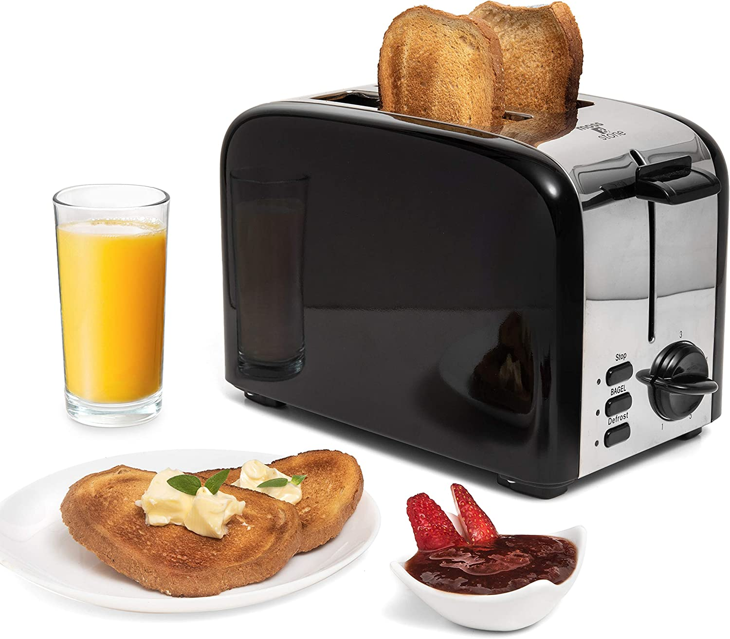 2 Slice Toaster, 1.5in Extra-Wide Slot Toaster For Bagel & Defrost with 5 Shade Settings, with Removable Crumb Tray (black toaster) By Moss & Stone.