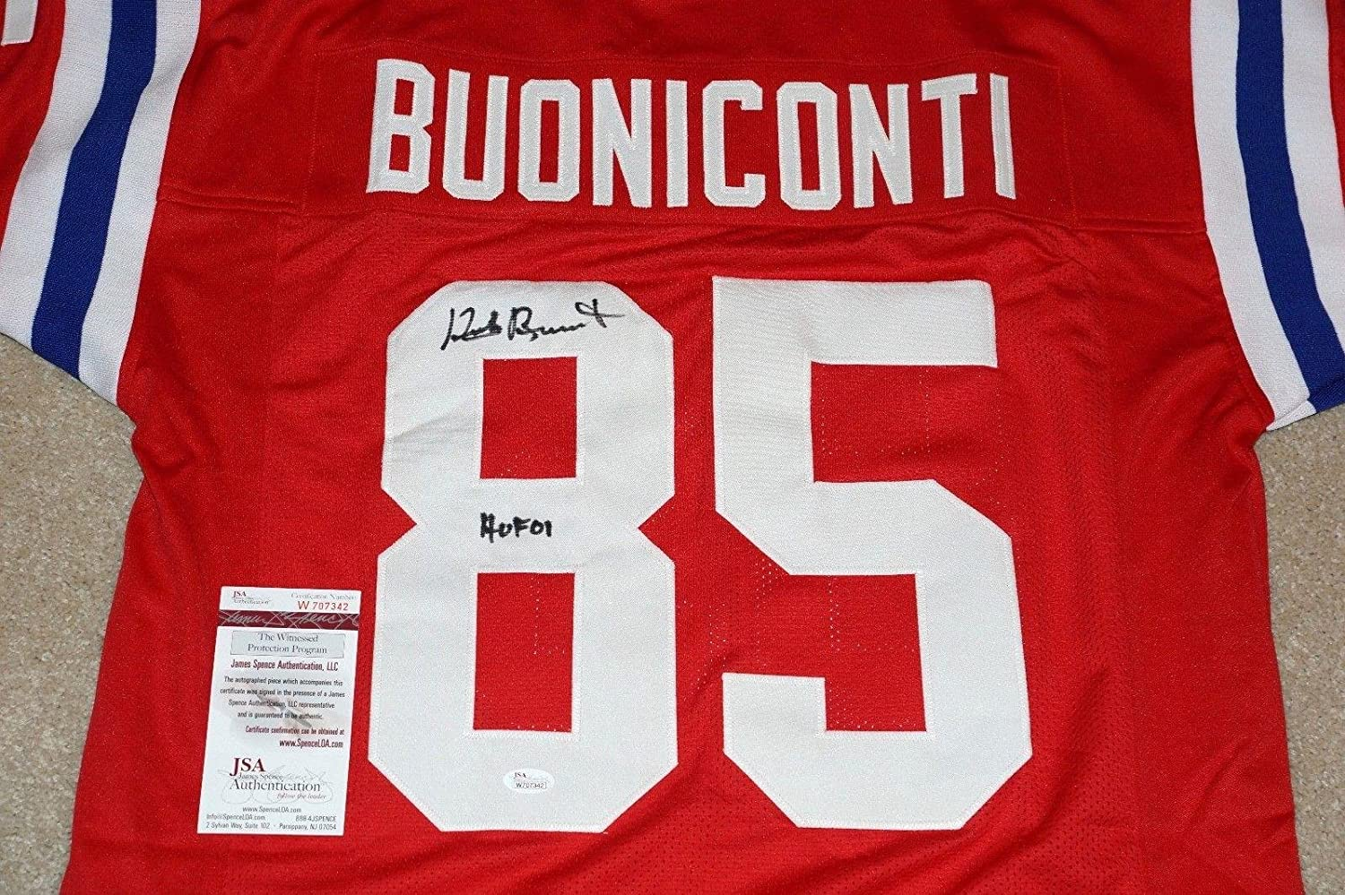 3db0dd7b Autographed Nick Buoniconti Jersey - PATRIOTS Throwback + Witness ...