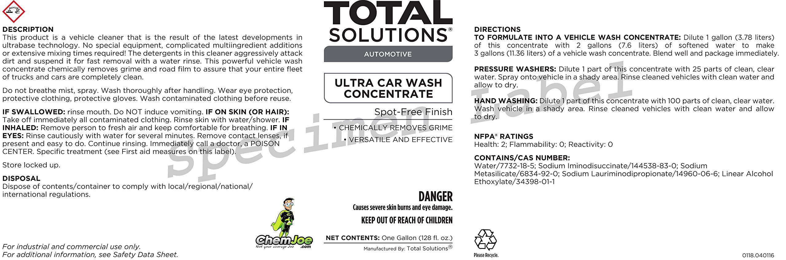 ChemJoe Ultra Car Wash Concentrate all types of vehicles. Heavy Road Grime Great for Big Rig Trucks. 25 to 1 Dilute Pressure Washer. (1 Gallon) by ChemJoe (Image #2)