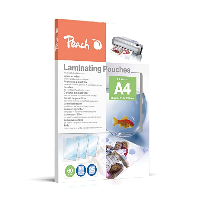 Amazon.com : Peach Laminating Pouches A4, 60 Mic, Ppr060-02, Set Of 25 : Office Products