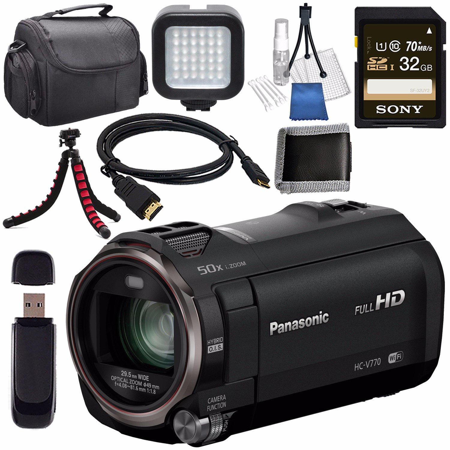 Panasonic HC-V770 HC-V770K Full HD Camcorder + Sony 32GB SDHC Card + Lens Cleaning Kit + Flexible Tripod + Carrying Case + Memory Card Wallet + Card Reader + Mini HDMI Cable + LED Light Bundle by Panasonic