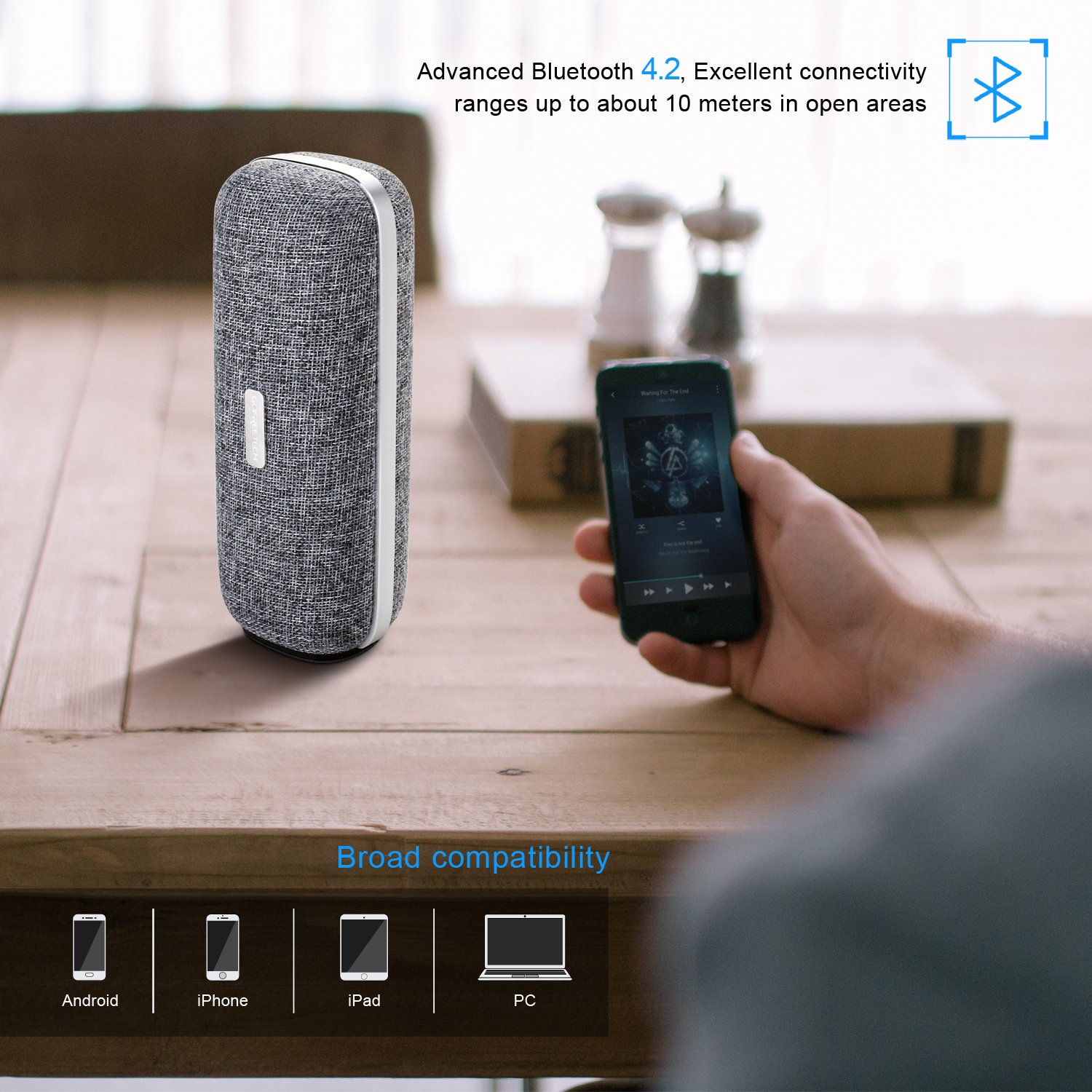 Wireless Bluetooth Speaker, Portable Classic Elegant Stereo Speakers with HD Sound Audio and Enhanced Bass, Bluetooth 4.2/AUX line/Dual Driver Speakers for Home, Beach, Travel, Party - Gofreetech by GOFREETECH (Image #3)