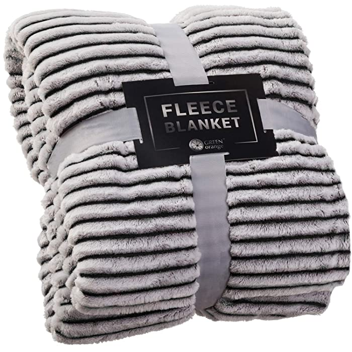 GREEN ORANGE Fleece Throw Blanket for Couch – 50x60, Black and White – Soft, Plush, Fluffy, Warm, Cozy – Perfect for Bed, Sofa