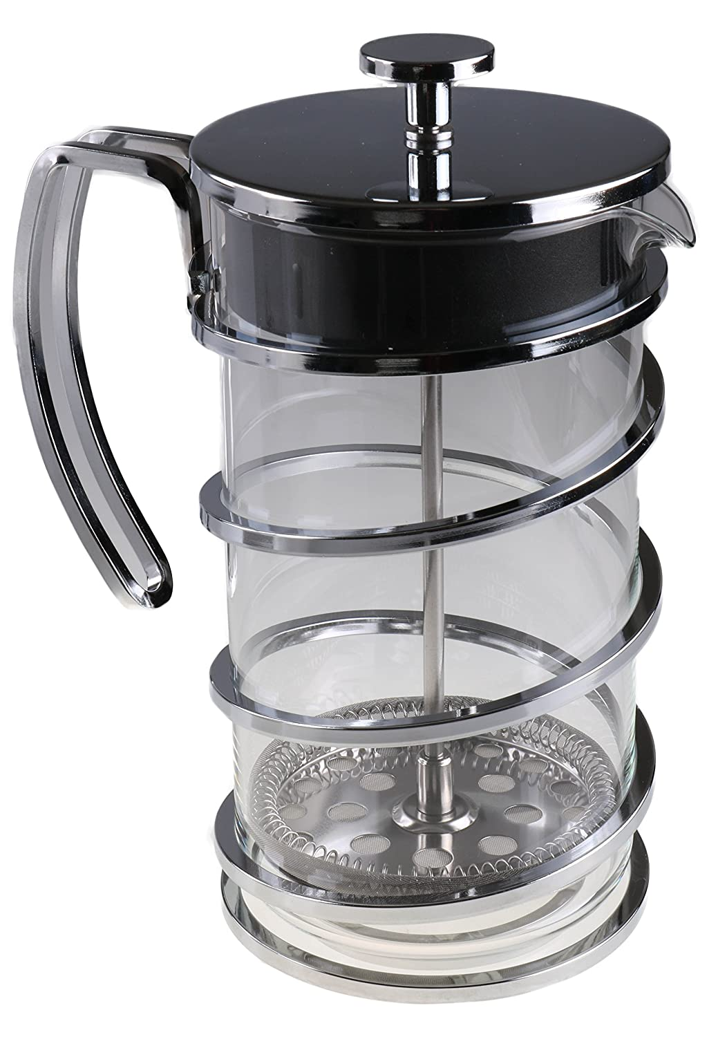 Gourmet 1 Liter Silver Colored French Press Coffee Brewer with Spiral Design Clever Chef