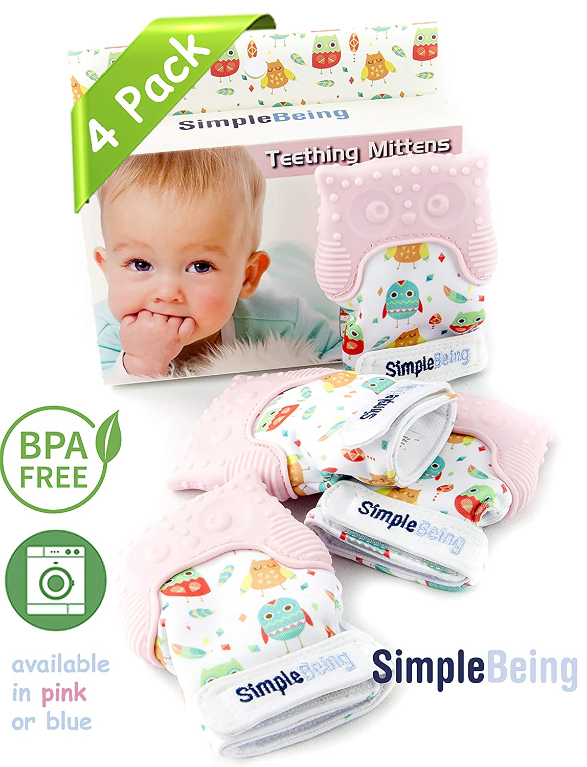 Simple Being Baby Teething Mittens, BPA Free Silicone Glove Teether