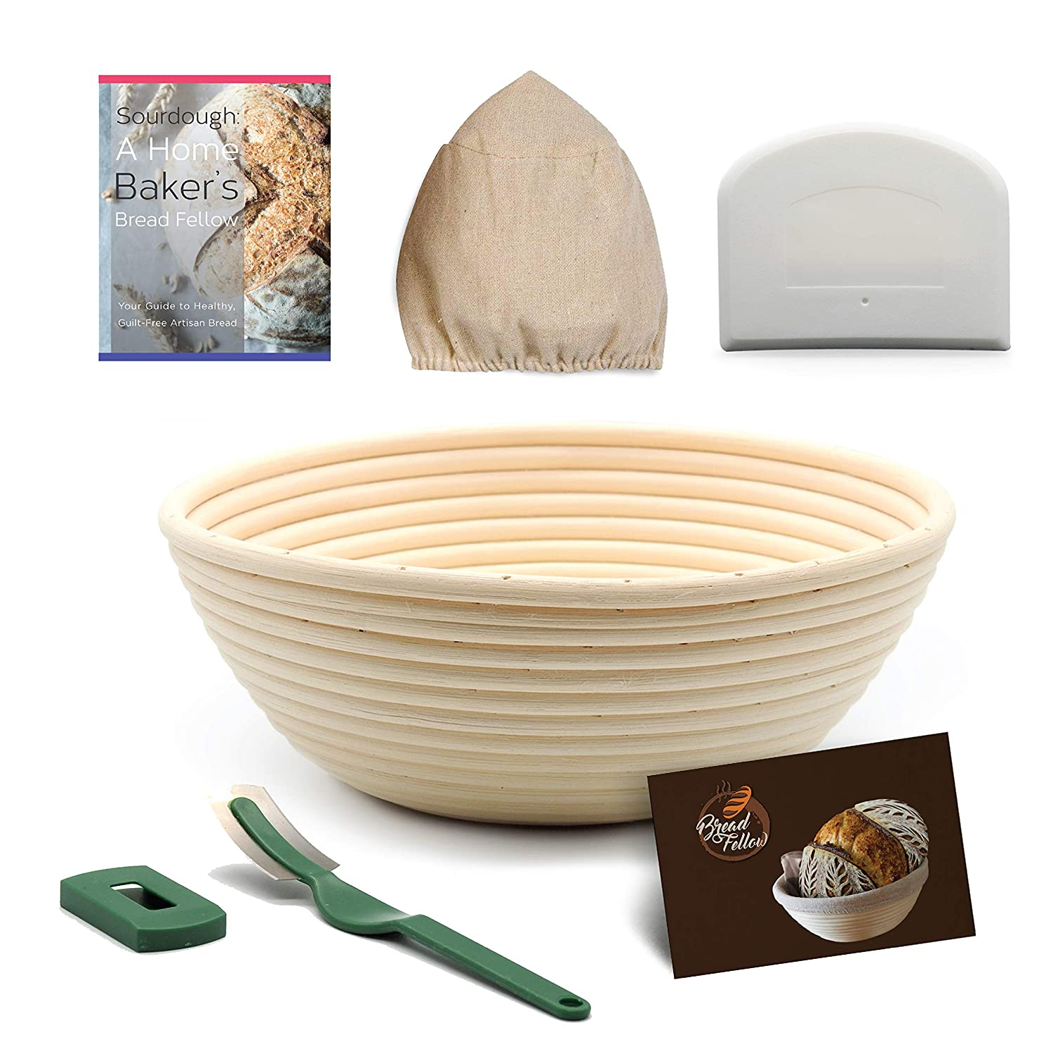 Banneton Bread Proofing Basket Set: 9 inch Round Brotform Bread Basket Dough Bowl | Cloth Liner | Dough Scraper | Bread Lame | Sourdough Recipe - For Professional and Home Bakers Artisan Bread Making Bread Fellow