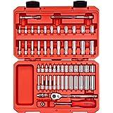 TEKTON 1/4 Inch Drive 6-Point Socket & Ratchet Set, 55-Piece (5/32 - 9/16 in., 4 - 14 mm) | SKT05301