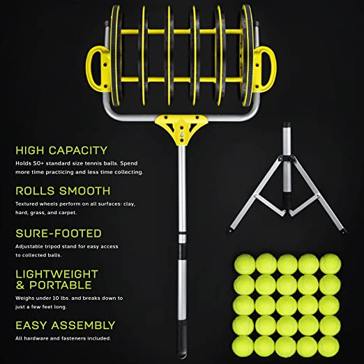 Amazon.com: Deluxe rodillo colector de pelota de tenis ...