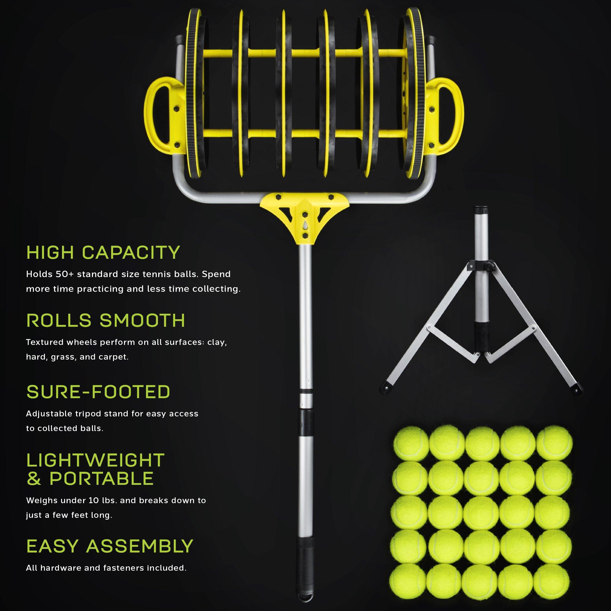 Deluxe Roller Tennis Ball Collector - Includes 25 Bonus Practice Balls! by Crown (Image #4)