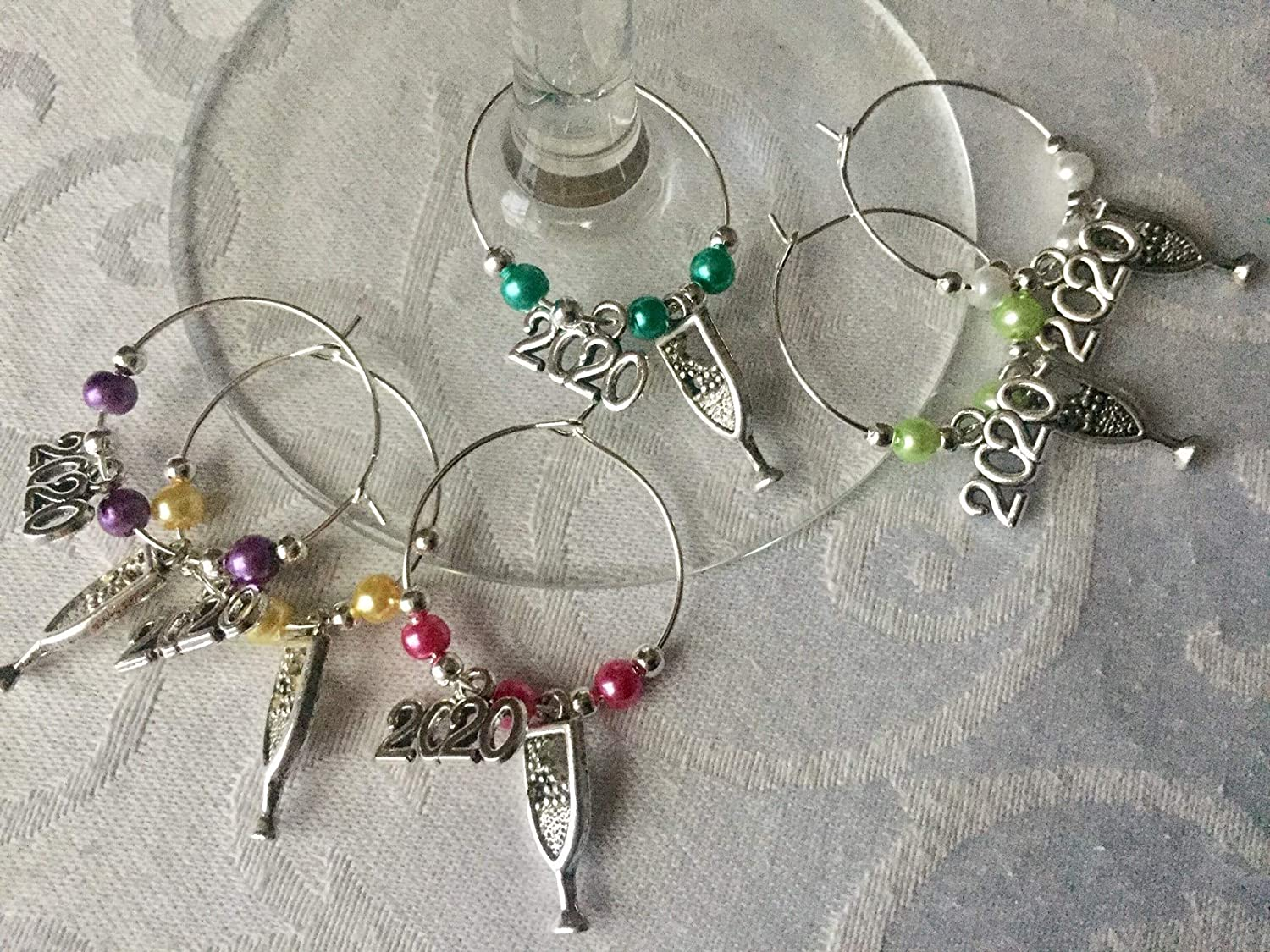 6 x 2020 New Years Eve Gin Gift or Wine Glass Charms Table Decorations