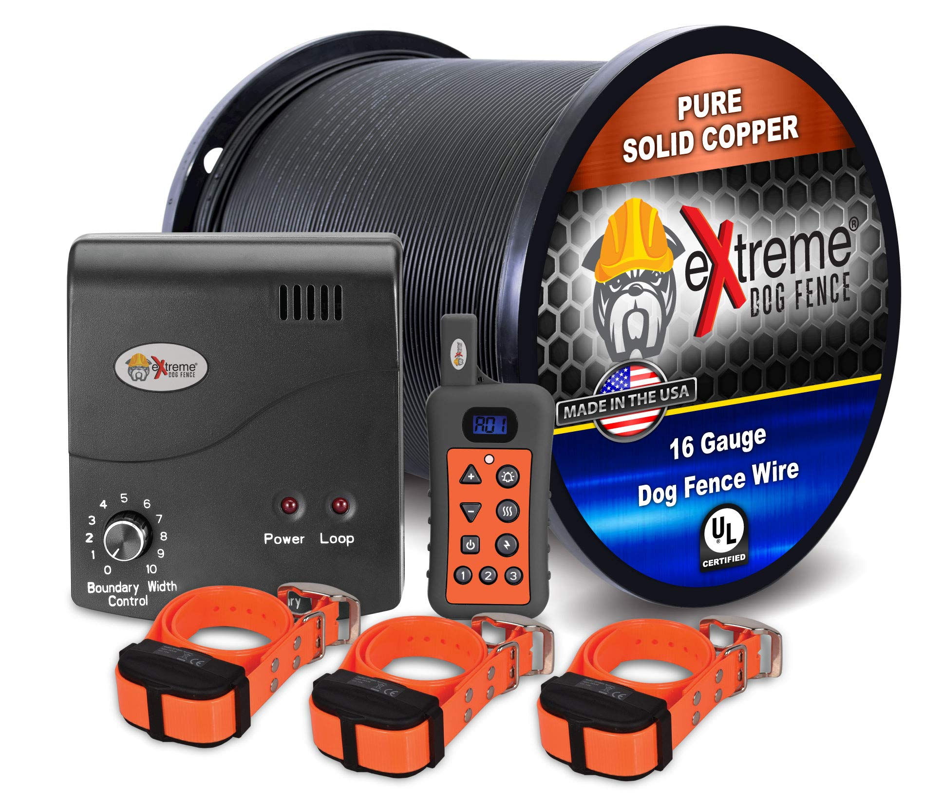 Electric Dog Fence + Remote Trainer - 3 Dog / 1000' of 16 Gauge Underground Dog Fence Wire (Up to 1 Acre) - Dual Solution to Contain and Train Your Dog(s) with a Single Collar by Extreme Dog Fence