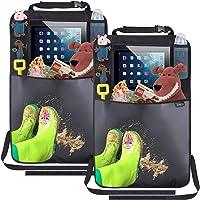 Termichy Organizadores para coche, 2 pieza Kick Mats de Coche, Protector para Asiento Trasero, Protector Impermeable para Asiento del Automóvil con Soporte para Tableta Clear iPad Grande