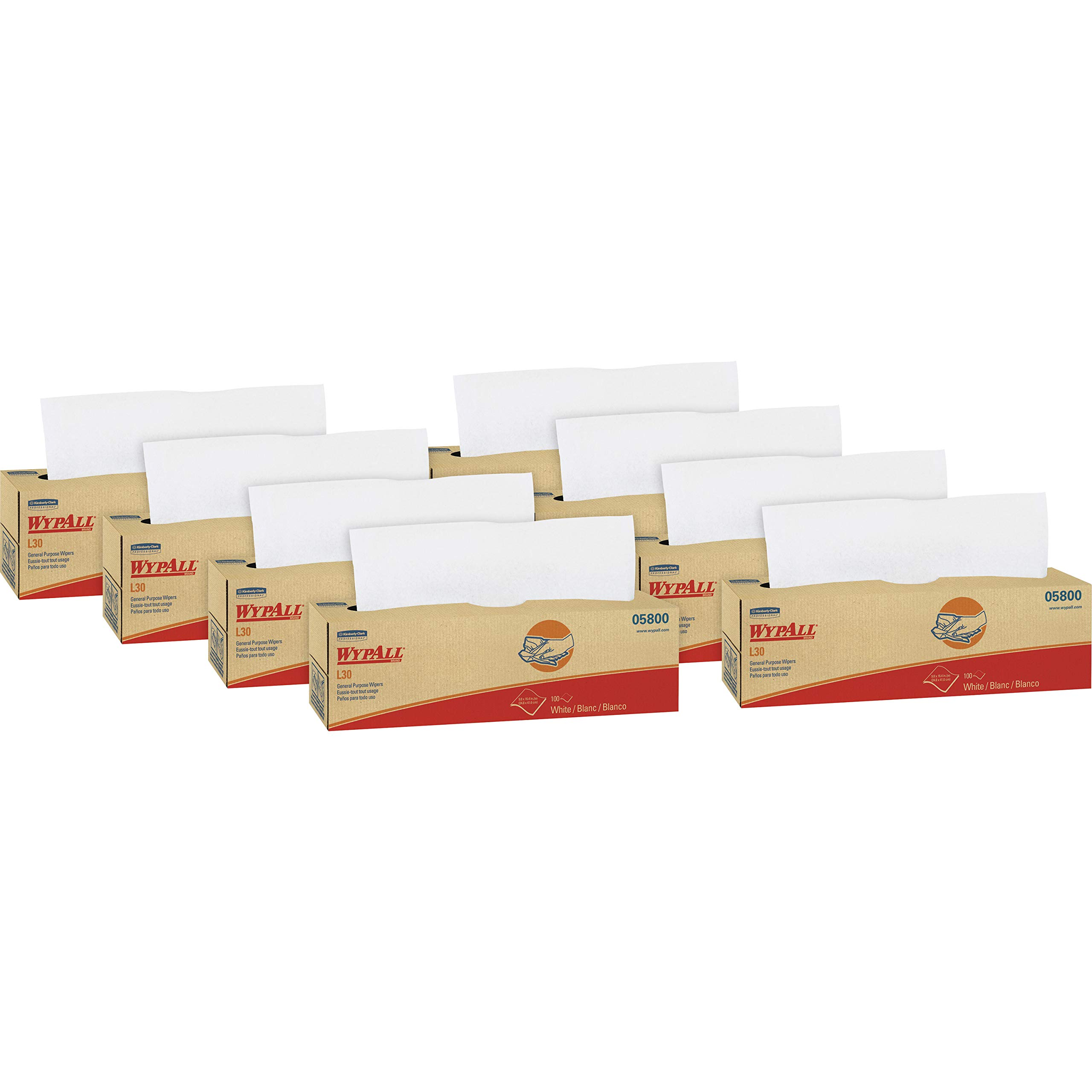 Wypall L30 DRC Towels (05800), Strong and Soft Wipes, White, 100 Sheets / Pop-Up Box, 8 Boxes / Case, 800 Wipes / Case