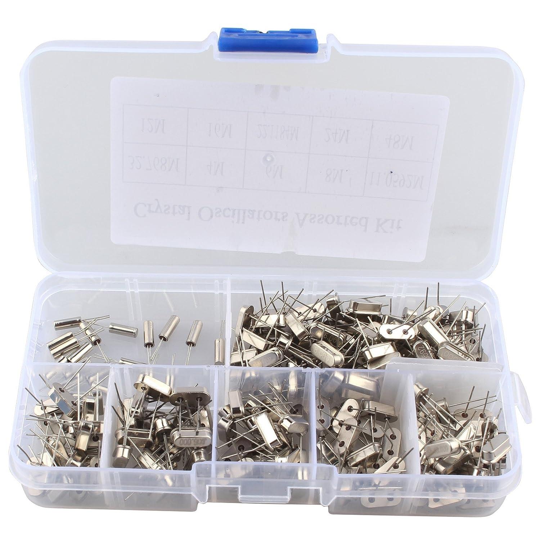 HALJIA 200PCS 10Value 32.768KHz ~ 48MHz DIY Quartz Crystal Oscillator Assorted Kit Set Assortment with Plastic Box