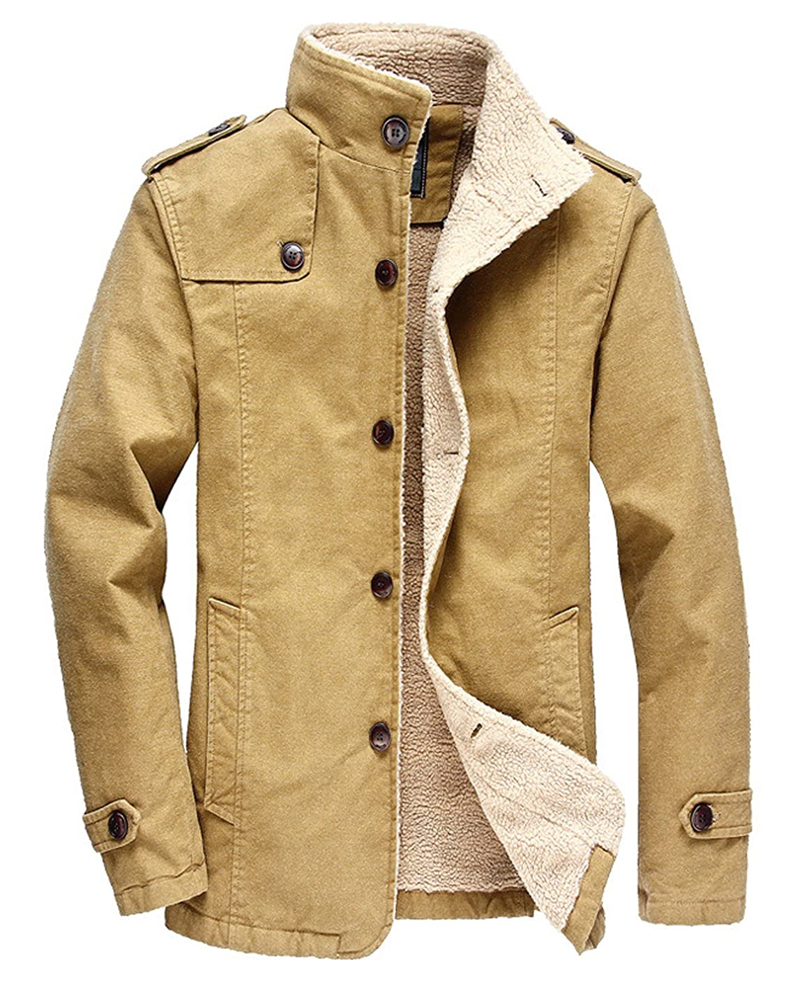 HOW'ON Men's Winter Fleece Casual Cotton Jacket Military Cargo Jacket Outwear Parka Winter Coat