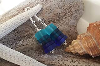 product image for Handmade in Hawaii,three blue sea glass earrings, (Hawaii Gift Wrapped, Customizable Gift Message)