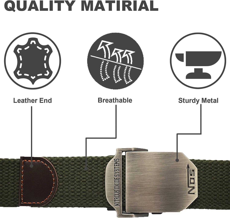 Cintura in tela completi facile da regolare fibbia in lega di zinco 1 pezzo chino per jeans robusta e versatile Meta-U stile militare